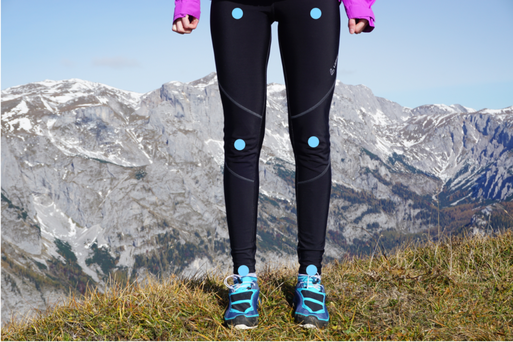 Die optimale Ausrichtung der Beinachse, wobei Hüftgelenk, Kniegelenk und Sprunggelenk in einer Linie angeordnet sind.